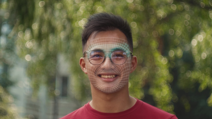Animation 3d recognition scanning mask of the face eye of man. facial recognition protection and scan safety. future sci-fi animation , security, scanning and password banking access. | Shutterstock HD Video #1041659632