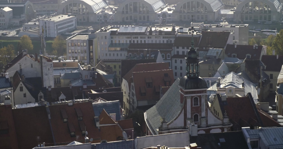 Latvian city roof tops on a sunny day in 4K | Shutterstock HD Video #1041907612