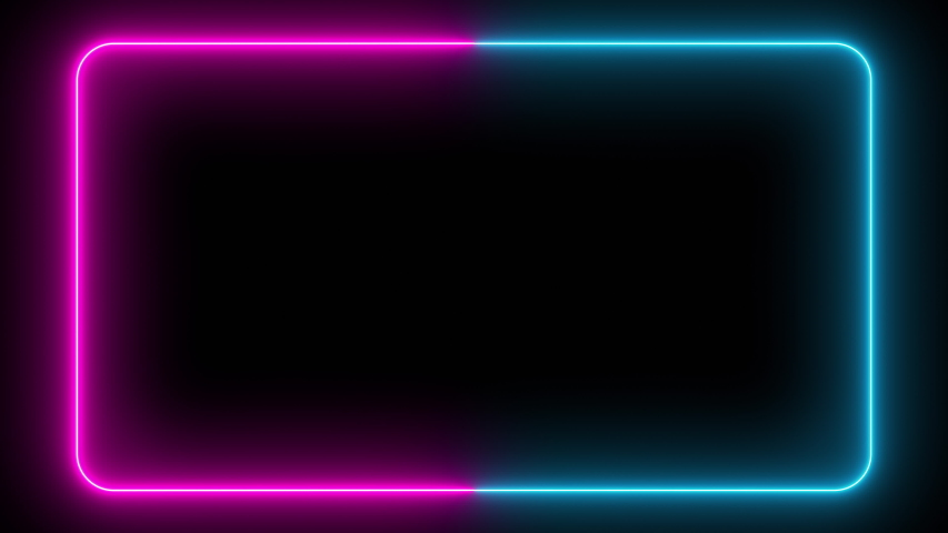 Flickering neon frame on an isolated black background. Ultraviolet modern light neon spectrum. Rectangle with rounded edges. Seamless loop laser show 3d render   Shutterstock HD Video #1041912202
