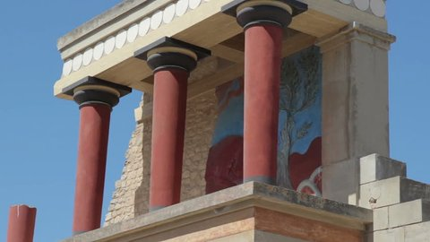 Red column gallery of Knossos palace, Crete, Greece