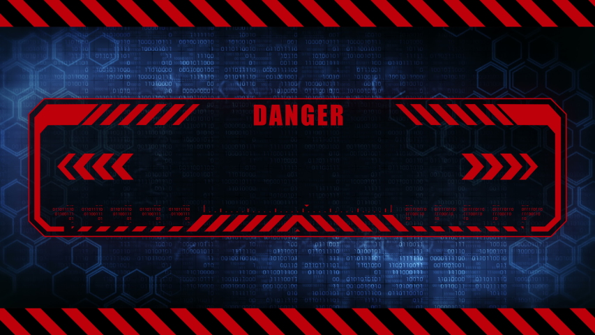 Danger message with copy space. Hexagon geometric design and binary numbers background. Digital screens frame. Game design GUI. Technology concept. | Shutterstock HD Video #1041959782