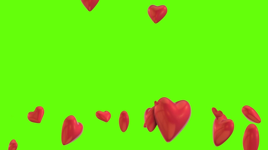 Social Media Background With Many 3d Animated Heart Objects. Animation of Love With Green Screen for Happy Valentine's Day or Like Icon. | Shutterstock HD Video #1042219012