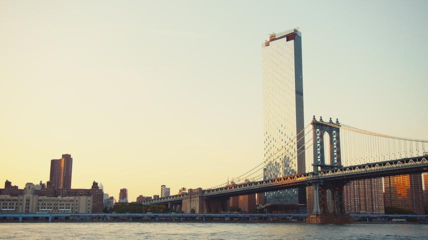 Manhattan bridge in New York in the evening | Shutterstock HD Video #1042253182