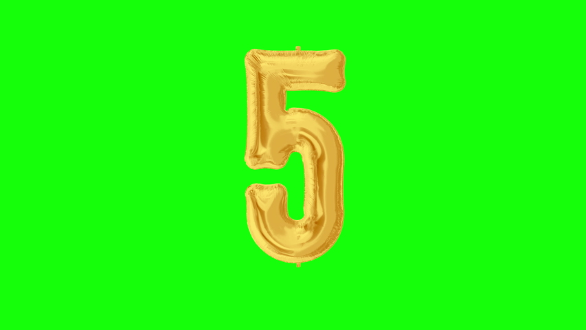 Gold foil number 5 five on green screen for anniversary celebration, festival, decorations and happy birthday. 4K video. | Shutterstock HD Video #1042254742