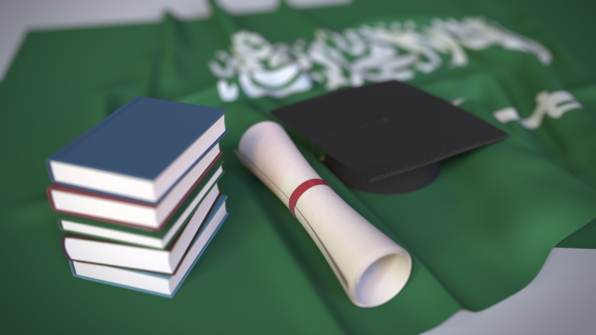 Graduation cap, books and diploma on the flag. Higher education in Saudi Arabia related conceptual 3D animation   Shutterstock HD Video #1042284502