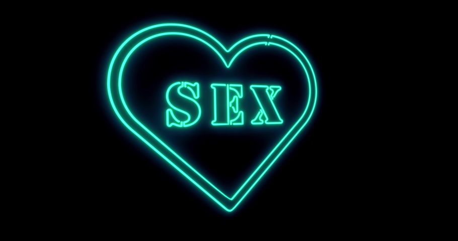 Neon sex sign as illuminated advertising for nightclub or massage. Erotic sexy message or fluorescent signage for love - 4k   Shutterstock HD Video #1042323622