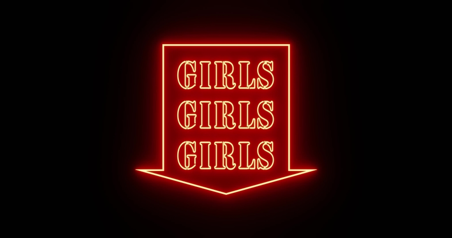 Neon girls sign as illuminated advertising for nightclub or massage. Glowing text message or fluorescent signage for love or sex - 4k   Shutterstock HD Video #1042323712