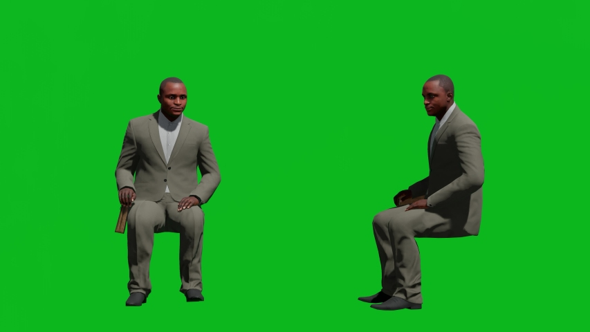 Business african man sitting posed in front view and side view, realistic 3D people rendering isolated on green screen. | Shutterstock HD Video #1042602922