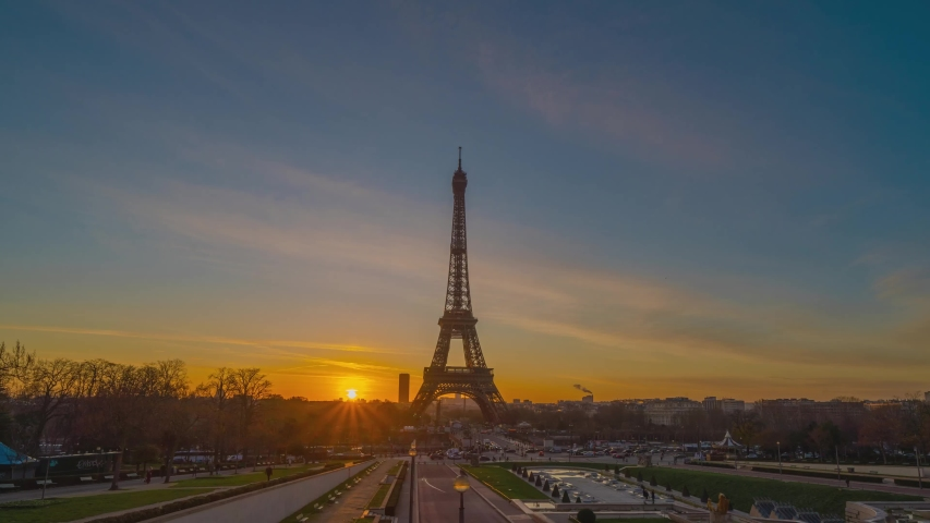 4K timelapse of Paris at sunrise with the Eiffel Tower at the Trocadero gardens. | Shutterstock HD Video #1042626202
