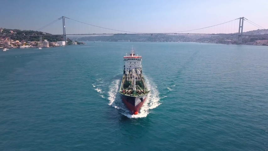 Drone flight above a green tanker ship in Bosphorus Sea, Istanbul City. Oil chemical tanker traffic is getting denser as the need for the transportation of Asian and Caucasian petroleum increases  | Shutterstock HD Video #1042727032