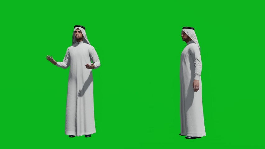 Arabic man standing in front view and side view, realistic 3D people rendering isolated on green screen. | Shutterstock HD Video #1042740532