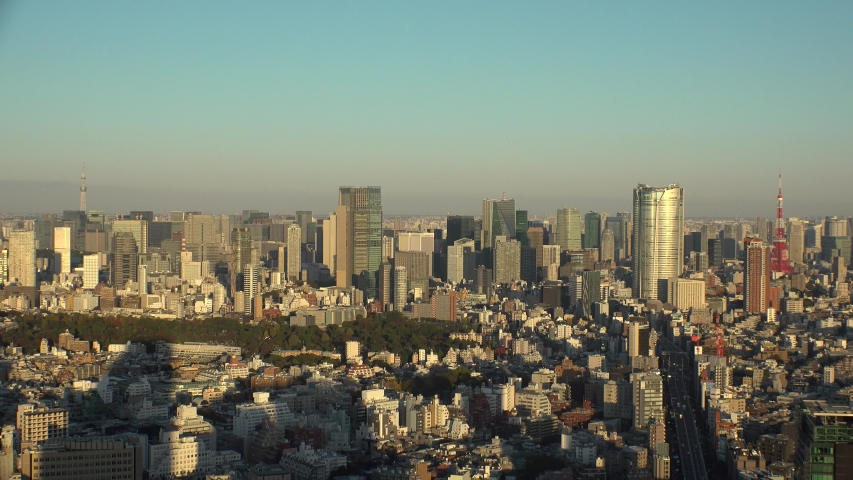 TOKYO, JAPAN - NOVEMBER 2019 : Aerial high angle view of cityscape of TOKYO in sunset. Scenery of central downtown area and business district. Clear blue and purple skyline. View from Shibuya ward. | Shutterstock HD Video #1042815592