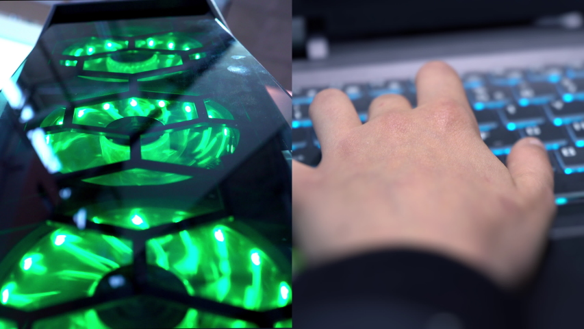 Gamer playing a computer game. Split screen. Programmer. Online shopping. Cyber monday. Hands on the keyboard. Keyboard with neon light. Esports. Championship in computer games. Computer parts.   Shutterstock HD Video #1042829782