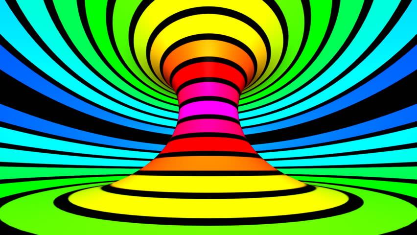 Loop twisted rotation - Horizontal motion rainbow colors