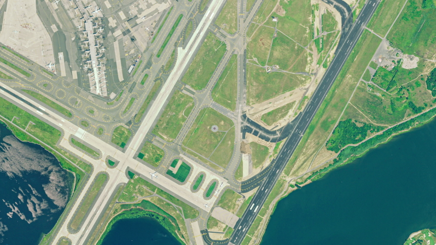 Aerial view of the New York International Airport in Queens, NY | Shutterstock HD Video #1043148772