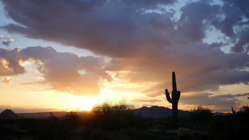Sunrise in the Sonoran Desert. HD 1080p time lapse. Zoom out.
