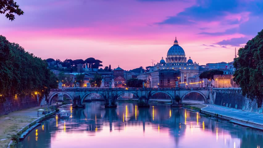 rome skyline st.peter basilica vatican city as seen from  tiber river  time lapse day to night