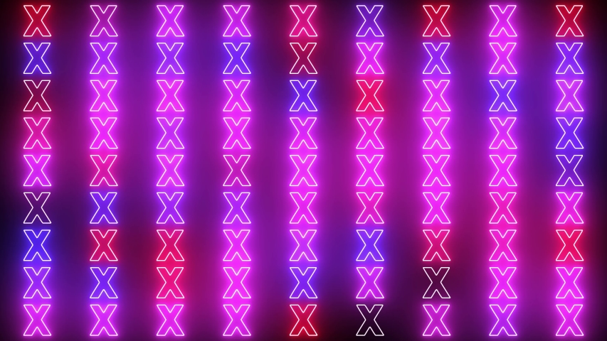 Neon X background. Science, art and technology concept. Abstract creative cross neon background with glowing light.  | Shutterstock HD Video #1044793192
