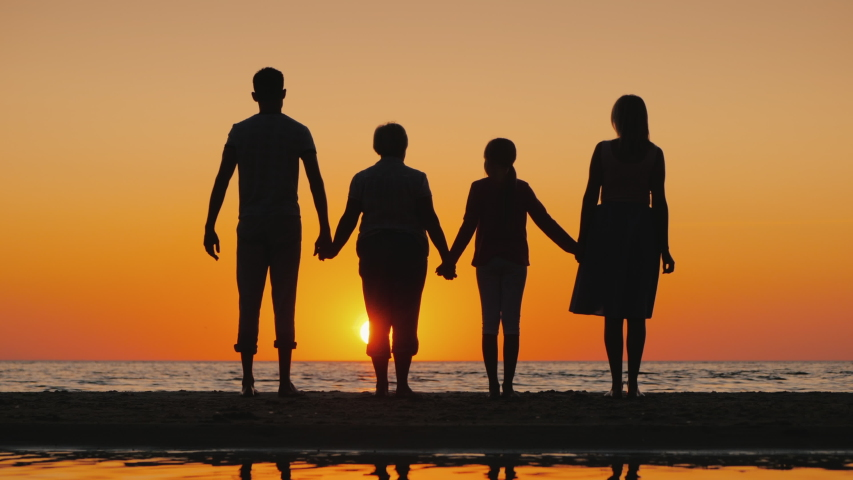 Friendly multi-generational family together raise their hands up | Shutterstock HD Video #1045008142