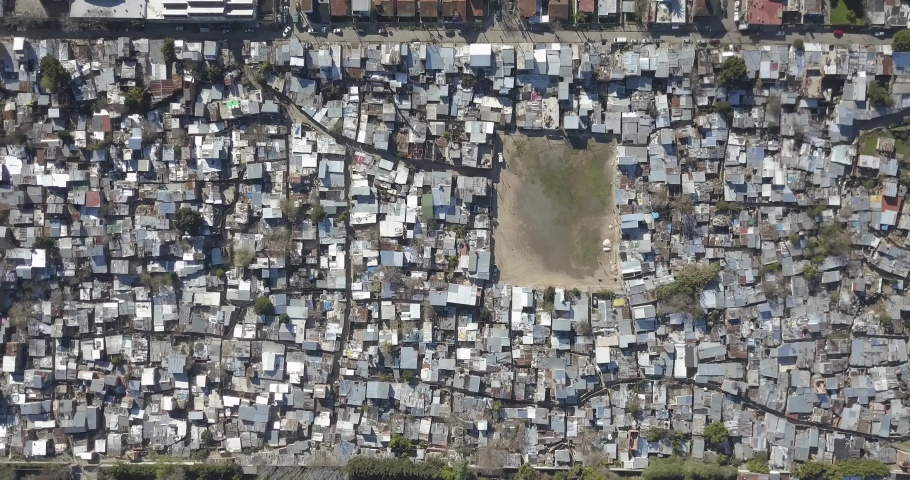 Aerial view of a poor village, Cava, San Isidro, Buenos Aires, Argentina. | Shutterstock HD Video #1045024192