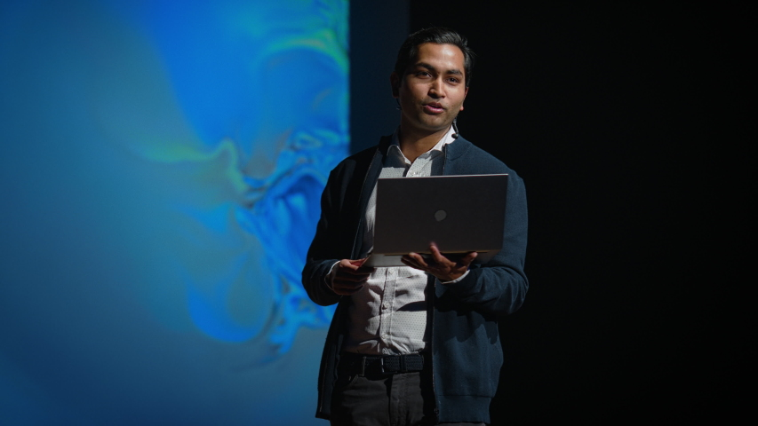 Business Conference Stage: Indian Tech Development Guru Presents Firm's Newest Product, He's Holding Laptop and Does Motivational Talk about Science, Technology, Entrepreneurship, Software Development | Shutterstock HD Video #1045096492