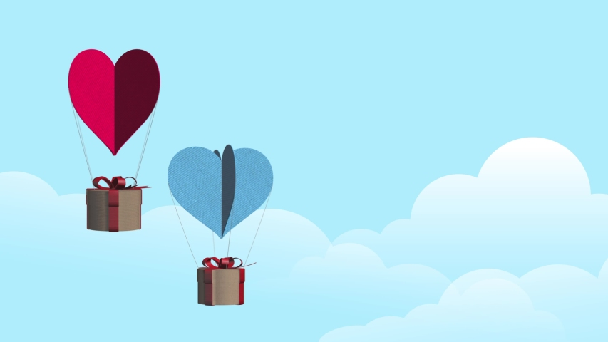 Red and blue paper balloons with love hearts and gift boxes in the sky concept animation symbolizes Valentines Day,K stock video  | Shutterstock HD Video #1045202752