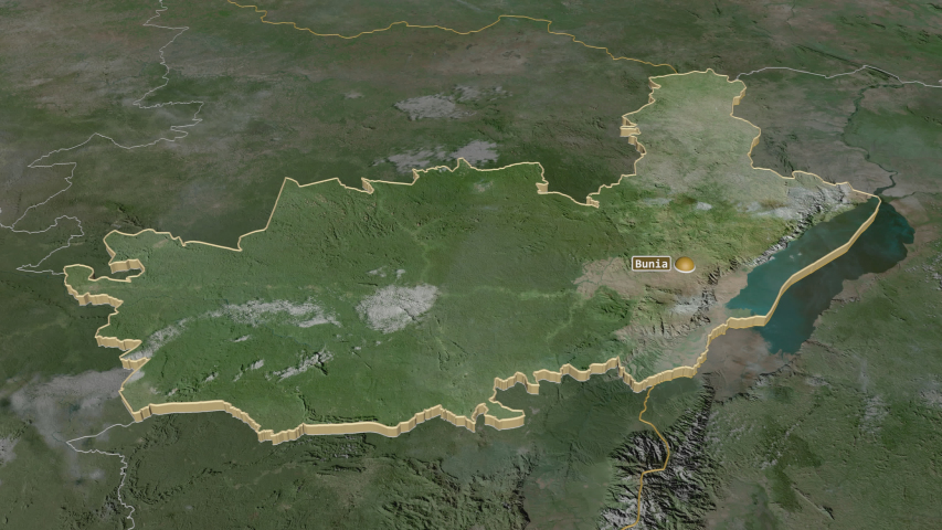 Ituri, province with its capital, zoomed and extruded on the satellite map of Congo Kinshasa in the conformal Stereographic projection | Shutterstock HD Video #1045352572