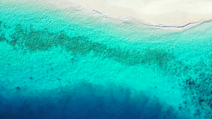 Corfu Island, Greece - Blue Calm Ocean With Coral Reefs and White Sand - Beautiful Tourist Destination - Aerial Shot | Shutterstock HD Video #1045390552