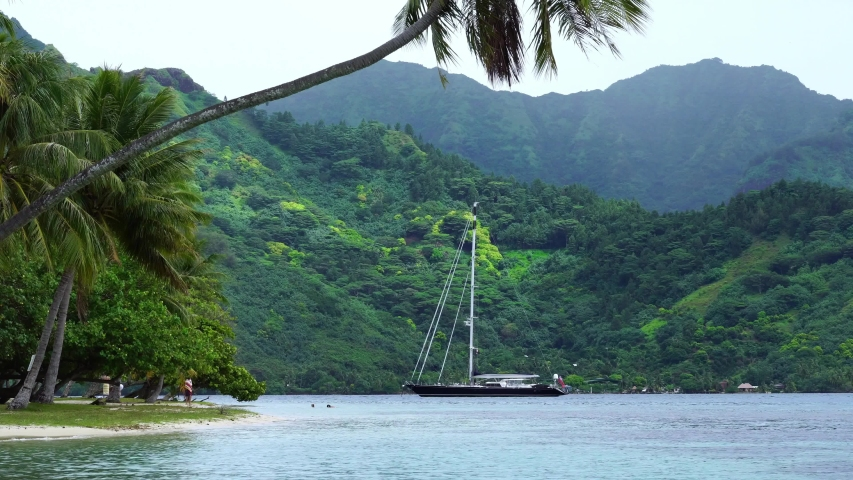 Couple swimming next to sailboat in Cooks bay. Moorea, Tahiti French Polynesia. Tropical vacation paradise island with lagoon beach. Luxury romantic getaway, exotic vacation destination.   | Shutterstock HD Video #1045441972