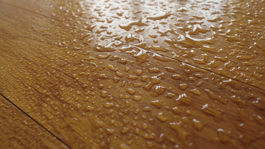 Parquet. Water falling on the wooden floor.  | Shutterstock HD Video #1045446262