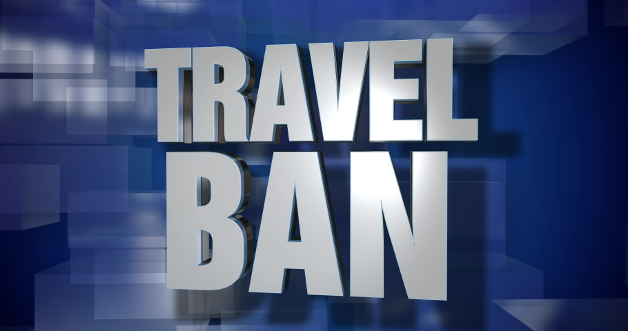 A blue dynamic 3D Travel Ban news transition and title page animation. 5 and 2 second options included. Green screen.   | Shutterstock HD Video #1045971802