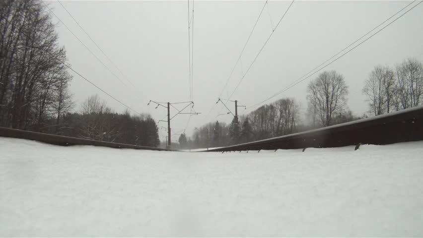 train in winter, view from below
