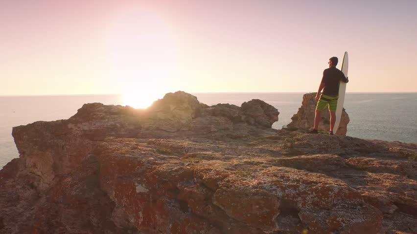 Surfer On Cliffs Rocks Wetsuit Sun Shine Sunset Ocean Beauty Vacation Holiday Concept Relaxation Sports Fit Healthy  #10461872