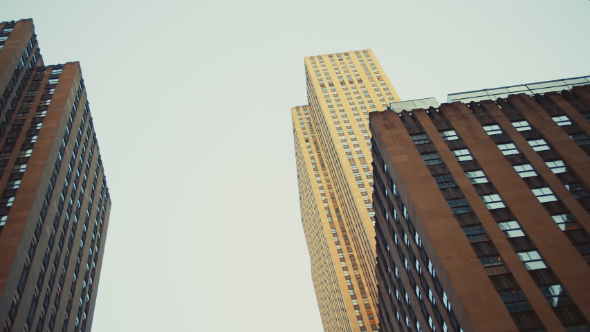 Skyscraper against the sky in New York City | Shutterstock HD Video #1046483602