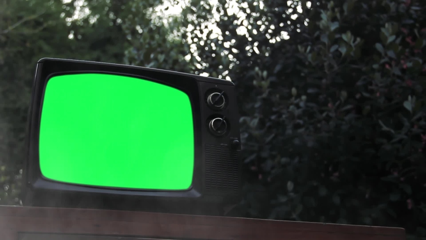 """Vintage TV Green Screen in a Foggy Forest. Zoom In. You can Replace Green Screen with the Footage or Picture you Want with """"Keying"""" effect in After Effects (check out tutorials on YouTube). 