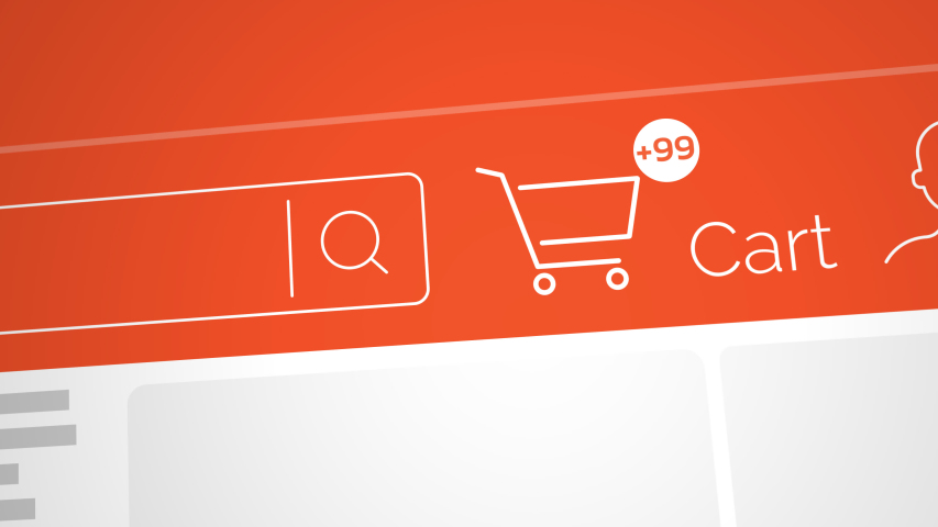 Close up shot animation of shopping cart icon on computer screen with animated counting numbers add online commodity on shopping web page. 4k footage 60 fps.   Shutterstock HD Video #1046540512