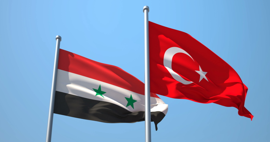 Turkey and Syria flag on a flagpole realistic wave on wind not synchronously, solid background. The Republic of Turkey and the Syrian Arab Republic. | Shutterstock HD Video #1046552272