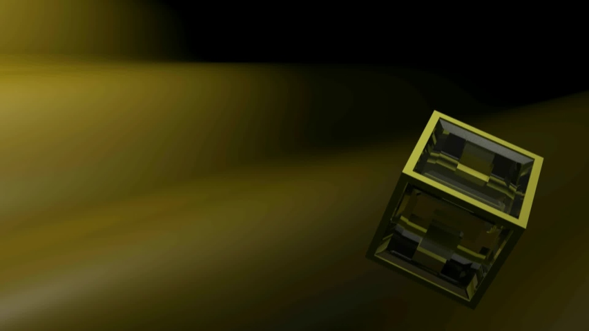 A cube having yellow structure and transparent glass faces is rotating over a dark blue waving surface - 3D rendering illustration | Shutterstock HD Video #1046581912