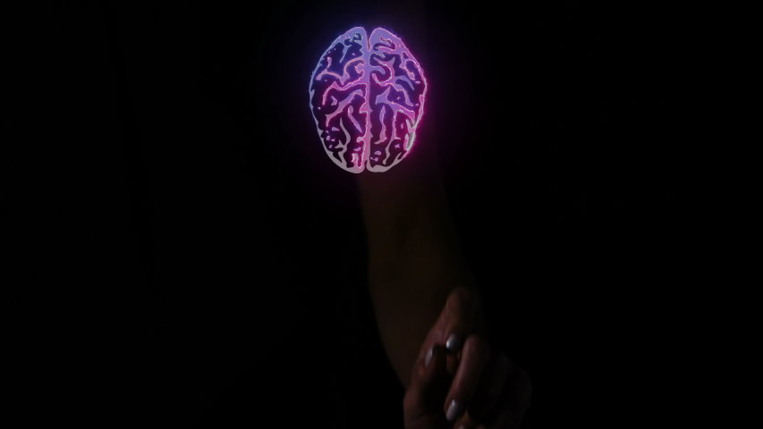 A finger touches a virtual screen with a symbol of a brain.   | Shutterstock HD Video #1046841622