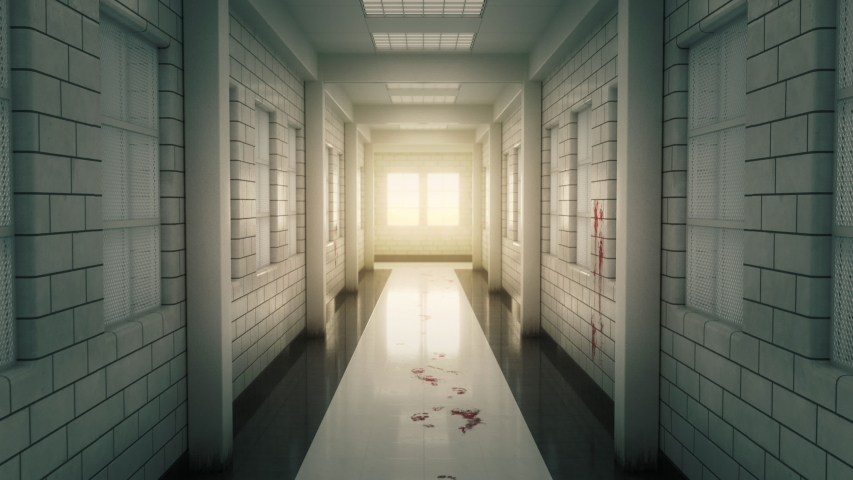 Gloomy white corridor in a psychiatry clinic. Terrible stains and traces of blood on the floor and walls. Camera movement along the corridors with a slight sway. | Shutterstock HD Video #1046906062