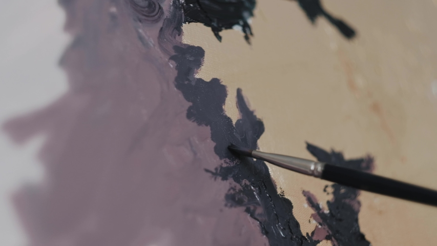 Brush painting on canvas with oil paints. Strokes, close up   Shutterstock HD Video #1046957002