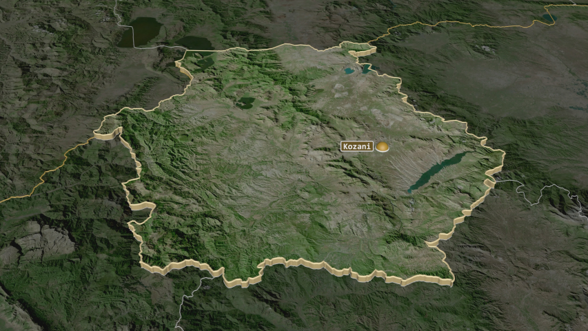 Western Macedonia, decentralized administration with its capital, zoomed and extruded on the satellite map of Greece in the conformal Stereographic projection | Shutterstock HD Video #1047014242