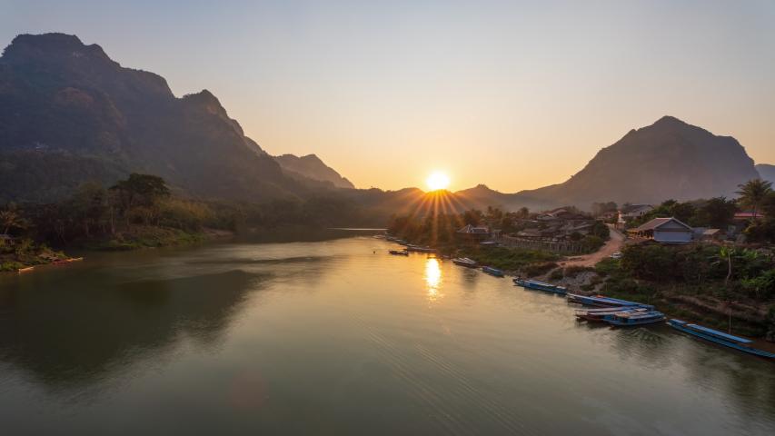 4K Time lapse Aerial view of Nong Khiaw village at sunset, Laotian, Luang Prabang, Laos | Shutterstock HD Video #1047087682