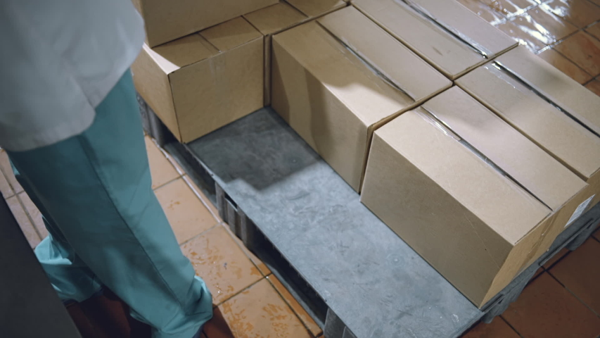 Bunch of Boxes in the Werehouse, Storage Room of an Ice Cream Factory, Product | Shutterstock HD Video #1047109642