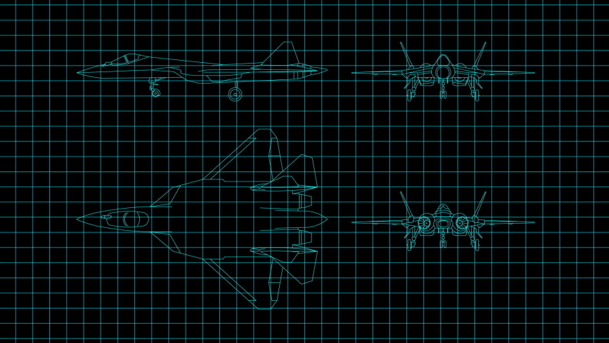 Animation showing a Technical Drawing of airplane design being drawn with great detail and ready 3d model of airplane | Shutterstock HD Video #1047231832