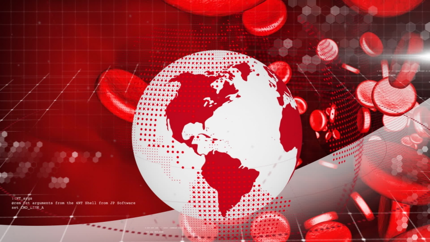 Animation of white and red digital globe rotating, information processing with macro red blood cells moving in the background. Global technology media and information network concept digitally | Shutterstock HD Video #1047236422