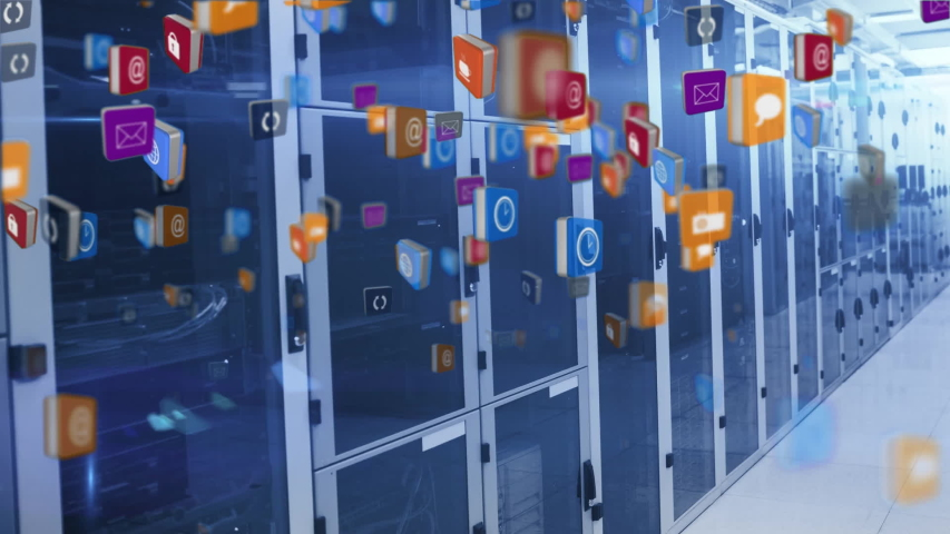 Animation of multiple digital icons flying up, data processing and digital information flowing through network of computer servers in a server room. Global network of internet service provider or data | Shutterstock HD Video #1047236452