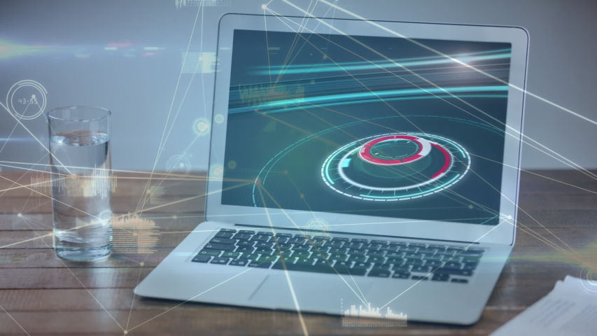 Animation of the news screen with scope scanning displayed on laptop computer screen on desk with glass network of connections in the foreground. Global technology media and information network | Shutterstock HD Video #1047240082