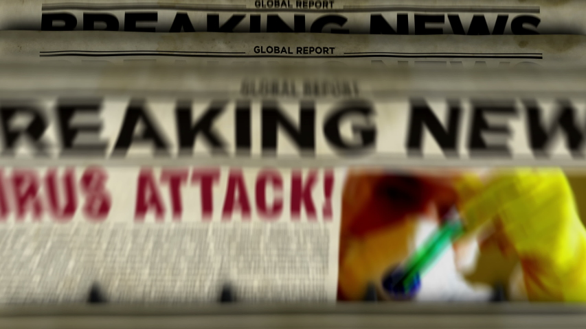 Virus attack breaking news – newspaper printing animation. Danger warning in retro paper media press production abstract concept. | Shutterstock HD Video #1047460132