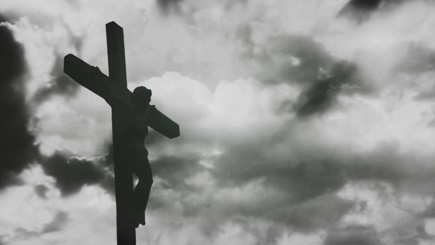 Jesus Christ crucified at Golgotha hill outside ancient Jerusalem. The Crucifixion of Christ with Stormy clouds time lapse. Vintage film look, 4k video | Shutterstock HD Video #1047606502
